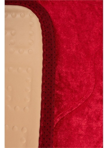 ikinciten Ayak İzi Baskılı Kaymaz Lateks Banyo Paspası 40X60 Cm Kırmızı Kırmızı